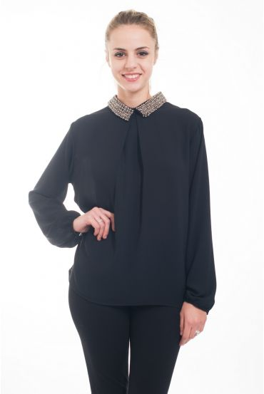 BLOUSE COL CLAUDINE 4617 BLACK