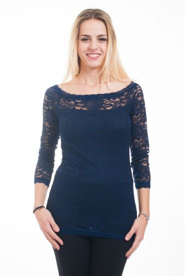 LACE TOP 4618 NAVY