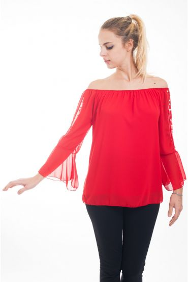 TUNIC SLEEVES BEADS 4619 RED