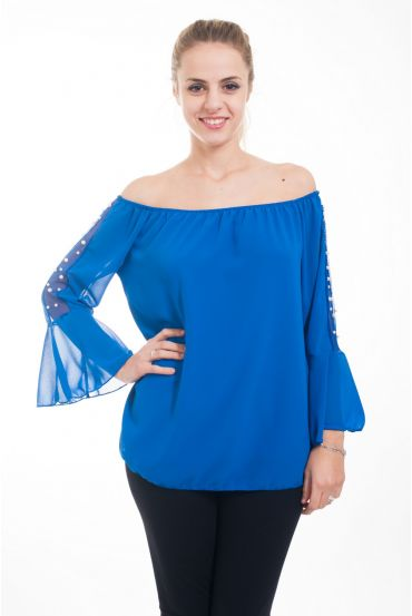 TUNIC SLEEVES BEADS 4619 ROYAL