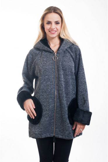 COAT FAUX FUR 5017 GREY