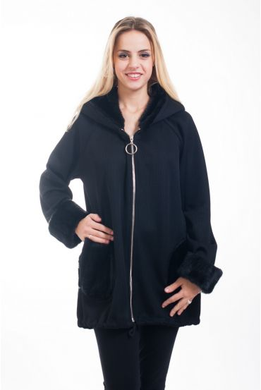 COAT FAUX FUR 5017 BLACK