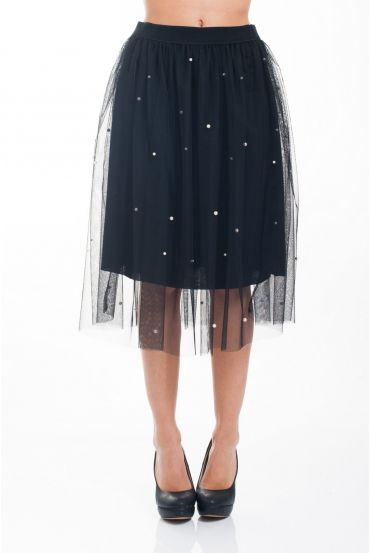 SKIRT TULLE BEADS 4627 BLACK