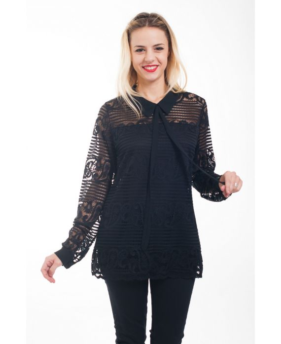 blouse dentelle 5007 noir grossiste pret a. Black Bedroom Furniture Sets. Home Design Ideas