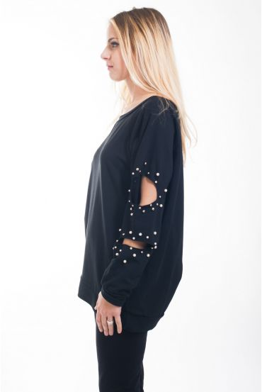 SWEATER SLEEVES DESTROY PEARLS 4629 BLACK