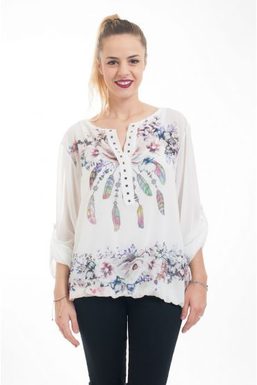 TUNIC 2 PIECES PRINTED 5036 WHITE