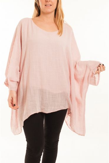 LARGE SIZE TUNIC ASYMMETRIC COVER 5059 PINK