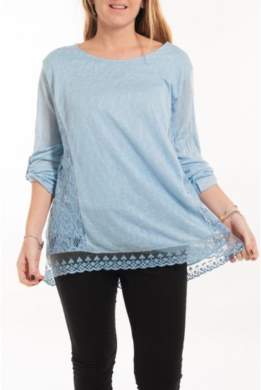 LARGE SIZE TUNIC TOP LACE 5056 BLUE