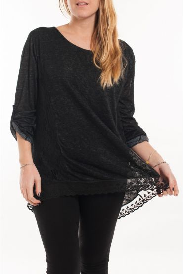 LARGE SIZE TUNIC TOP LACE 5056 BLACK