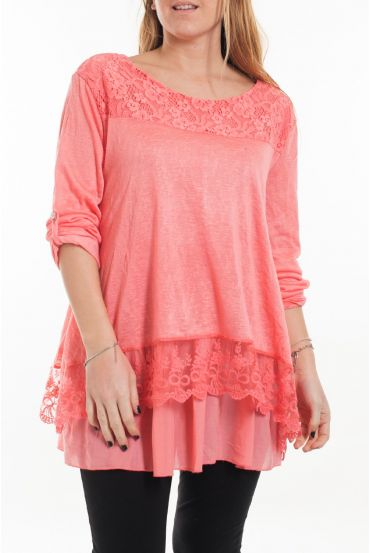 LARGE SIZE TUNIC OVERLAY 5055 CORAL