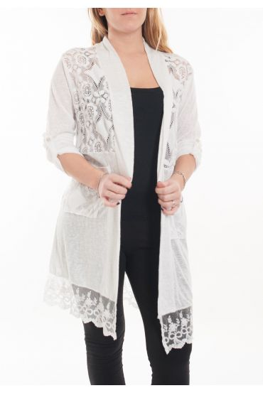 LARGE SIZE TUNIC TOP LACE 5053 WHITE
