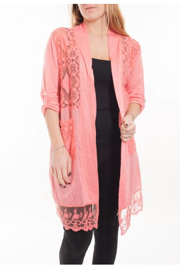 LARGE SIZE TUNIC TOP LACE 5053 CORAL