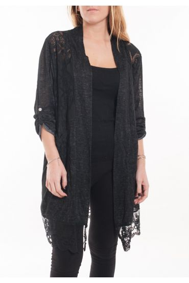LARGE SIZE TUNIC TOP LACE 5053 BLACK