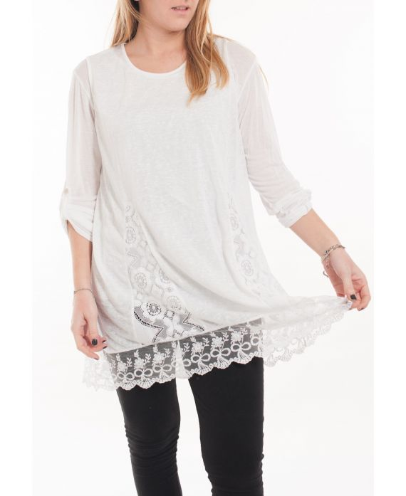 LARGE SIZE TUNIC TOP LACE 5054 WHITE