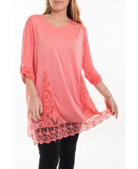 LARGE SIZE TUNIC TOP LACE 5054 CORAL