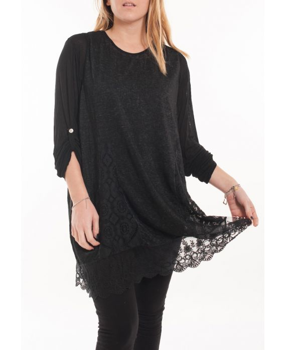 LARGE SIZE TUNIC TOP LACE 5054 BLACK
