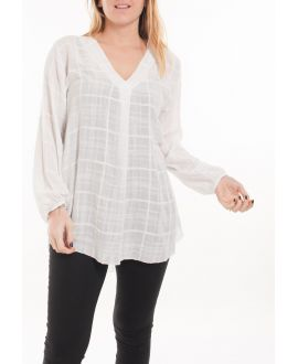 GRANDE TAILLE BLOUSE COL V 5061 BLANC