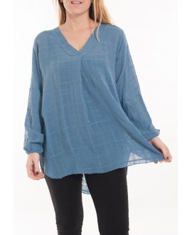 SIZE LARGE BLOUSE V-NECK 5061 BLUE