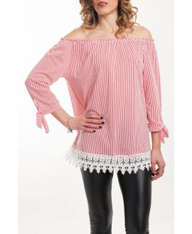 TOP SHOULDERS DENUDEES SCRATCH-5065 RED