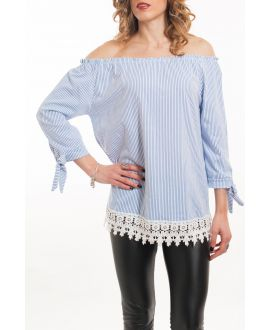 TOP SHOULDERS DENUDEES SCRATCH-5065 BLUE