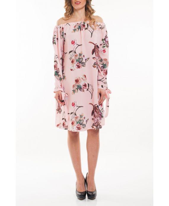 DRESS SHOULDERS DENUDEES FLOWERS 5064 PINK