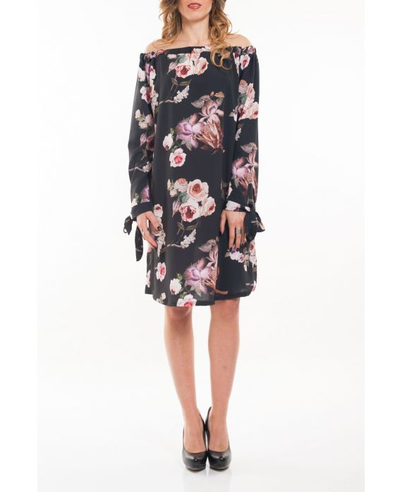 DRESS SHOULDERS DENUDEES FLOWERS 5064 BLACK