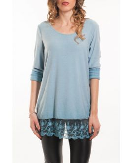 T-SHIRT LACE OVERLAY 5051 BLAUW
