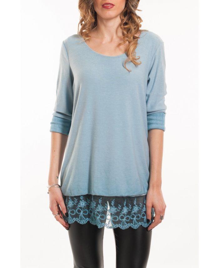t shirt mit spitzen overlay 5051 blau grossiste pret a. Black Bedroom Furniture Sets. Home Design Ideas