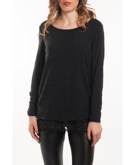 T-SHIRT SUPERPOSITION DENTELLE 5051 NOIR