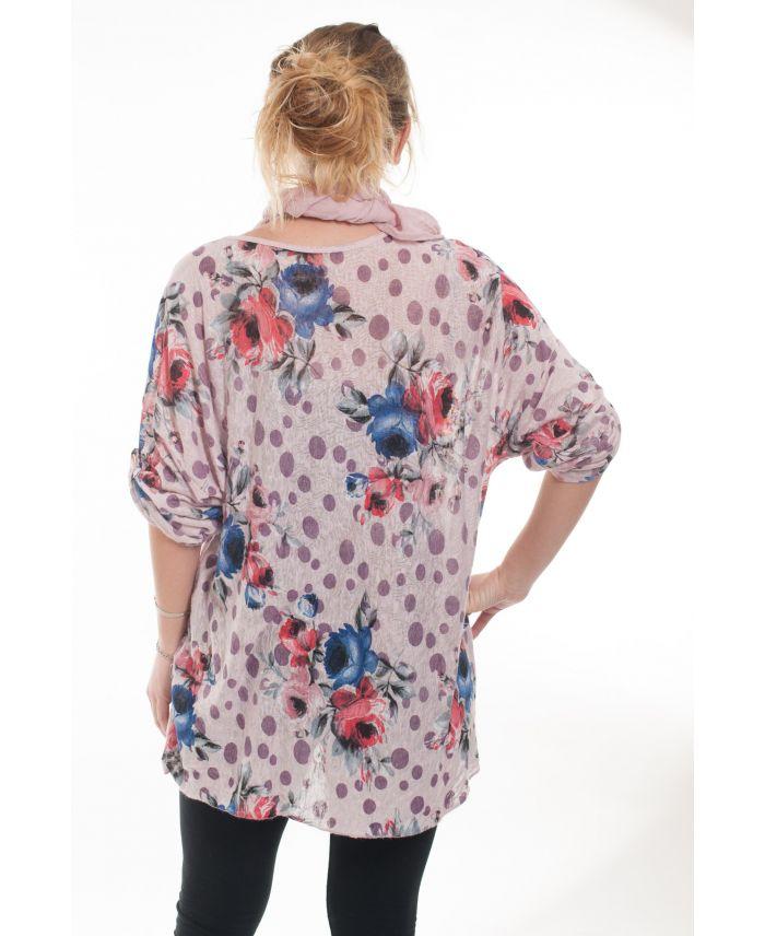 grande taille t shirt foulard 6020 rose grossiste pret. Black Bedroom Furniture Sets. Home Design Ideas