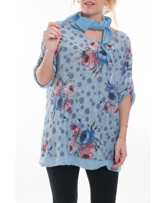grande taille t shirt foulard 6020 bleu grossiste pret. Black Bedroom Furniture Sets. Home Design Ideas