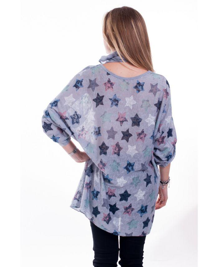 grande taille t shirt foulard 6021 gris grossiste pret. Black Bedroom Furniture Sets. Home Design Ideas