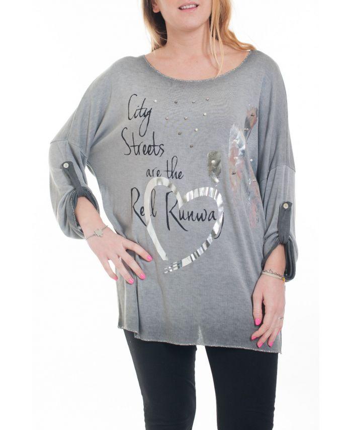 grande taille t shirt cloute 6083 gris grossiste pret a. Black Bedroom Furniture Sets. Home Design Ideas