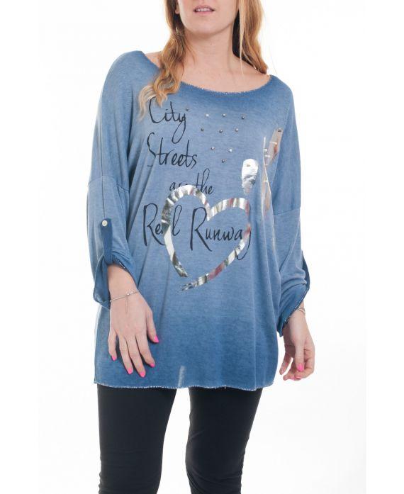 grande taille t shirt cloute 6083 bleu grossiste pret a. Black Bedroom Furniture Sets. Home Design Ideas