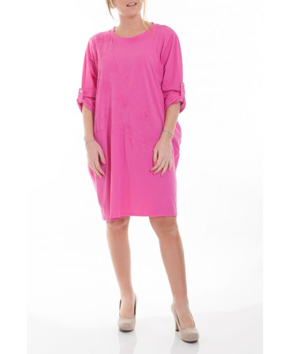 Grande taille robe tunique 6050 fushia grossiste pret a - Robes americaines pret a porter ...