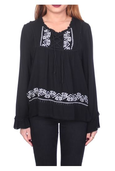 EMBROIDERED TUNIC BLACK 1076
