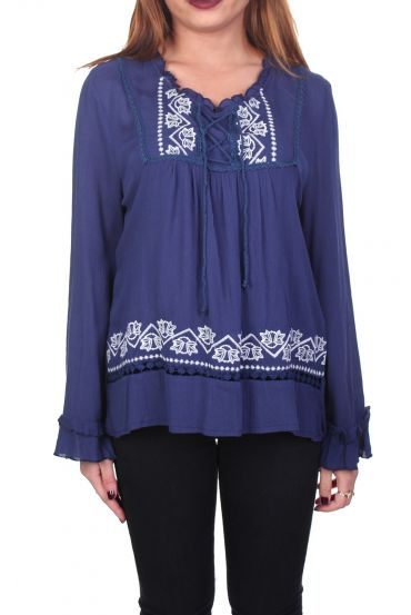 EMBROIDERED TUNIC NAVY 1076