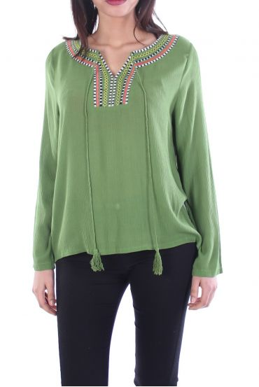 EMBROIDERED BLOUSE KHAKI 1070