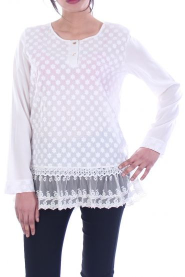 TUNIC MIX MATERIAL WHITE 1091