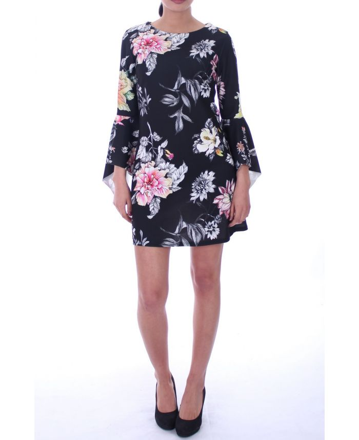 robe imprime floral 6000 noir grossiste pret a. Black Bedroom Furniture Sets. Home Design Ideas