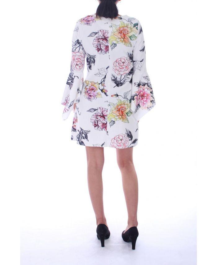 robe imprime floral 6000 blanc grossiste pret a. Black Bedroom Furniture Sets. Home Design Ideas