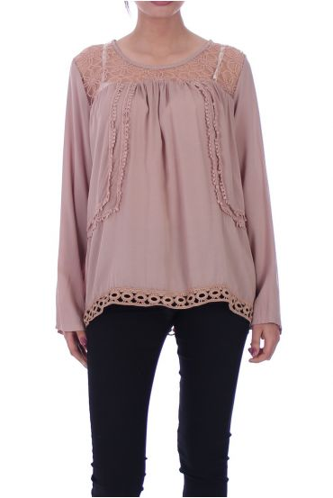 BLOUSE DENTELLE TAUPE 1059