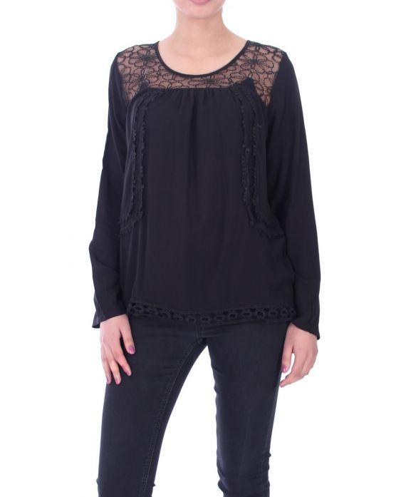 blouse dentelle 1059 noir grossiste pret a. Black Bedroom Furniture Sets. Home Design Ideas