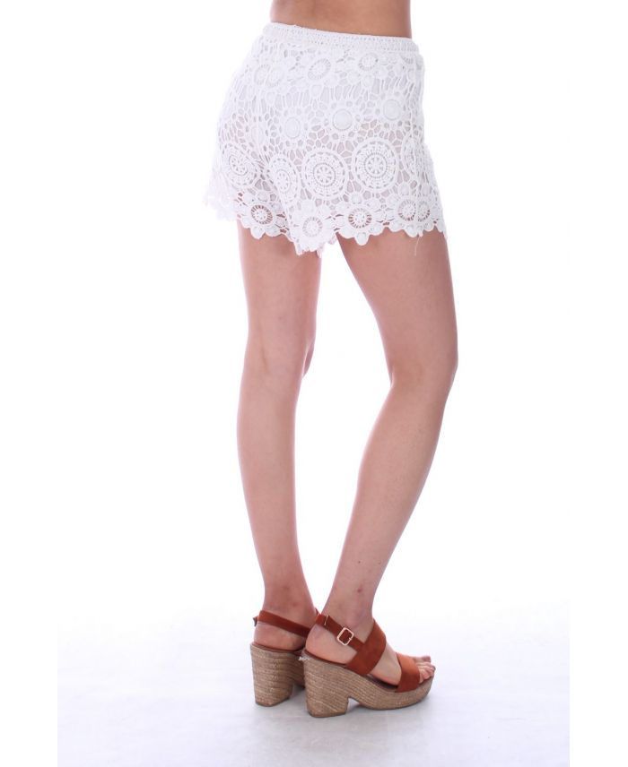 where to buy pretty cool quality SHORT DENTELLE 0041 BLANC - BOHEME - grossiste-pret-a-porter.com