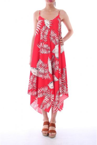 ROBE IMPRIME TROPICAL 0119 ROUGE