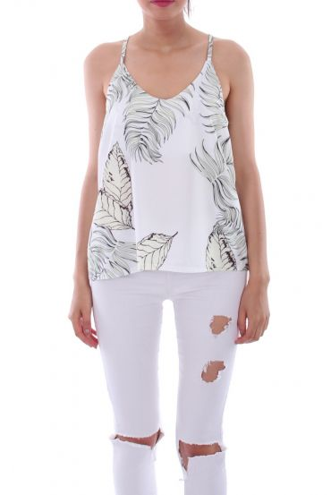 TOP IMPRIME TROPICAL 0121 BLANC