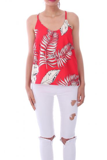 TOP IMPRIME TROPICAL 0121 ROUGE