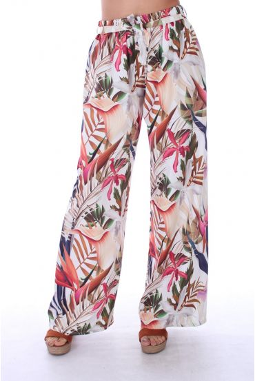 PANTALON IMPRIME TROPICAL 0122 BLANC