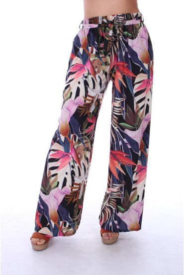 PANTALON IMPRIME TROPICAL 0122 NOIR