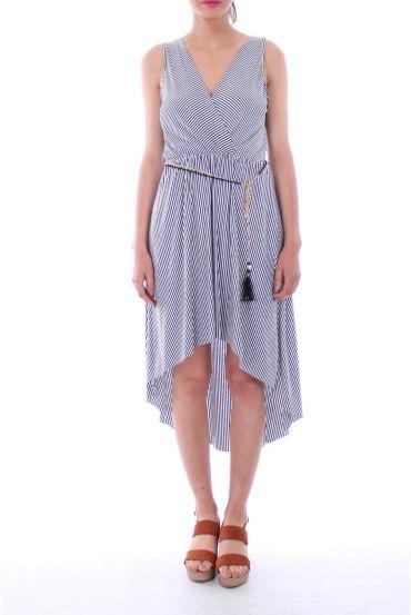 LONG DRESS STRIPED + BELT 0124 BLACK
